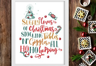 Sugary Loves of Christmas Stocking - Christmas Wall Art