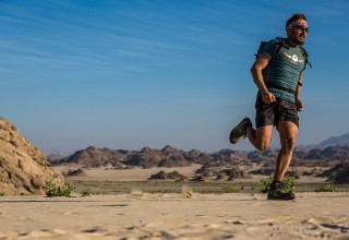 Christian Schiester performs during the Sail and Run projekt in the eastern desert, Egypt on Feb. 1, 2017