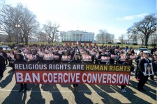200 protesters gather at White House on February 17, 2018, to protest coercive conversion