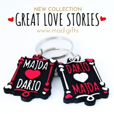King and Queen of Hearts personalized key chain set