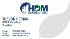 Logo and Business Card of HDM Coatings Corp. President