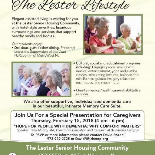 Feb. 15: Lester Senior Housing Community in Whippany to Host Free Dementia Caregiver Workshop