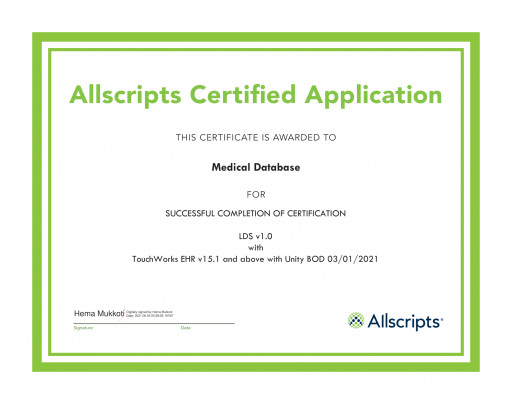 Medical Database, Inc. Integrates Its Laboratory Decision System, LDS®, With Allscripts
