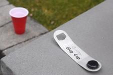 Brushed Silver Slap Cap Trick Shot Bottle Opener
