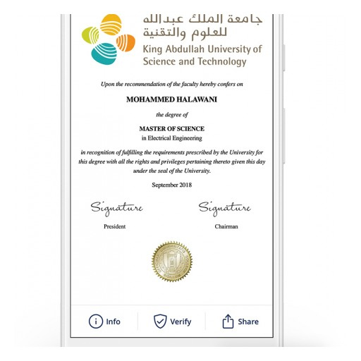 KAUST Set to Be First University in Middle East to Issue Blockchain Credentials Using Blockcerts Open Standard