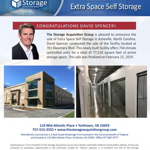 The Storage Acquisition Group Announces the Sale of Extra Space in Asheville