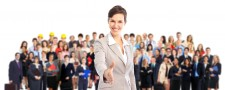 Large Group Of Business People With Woman Forerunner