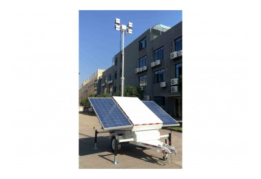 Larson Electronics Releases Solar LED Light Tower, (2) 300W Panels, 21.3', (4) 50W LED Fixtures