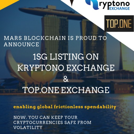 1SG Launches on Kryptono Exchange and Top.one Exchange