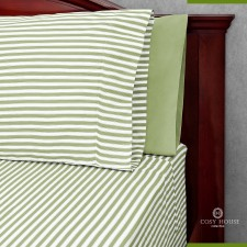 Cosy House Bamboo Sheets with Stripes on Bed View