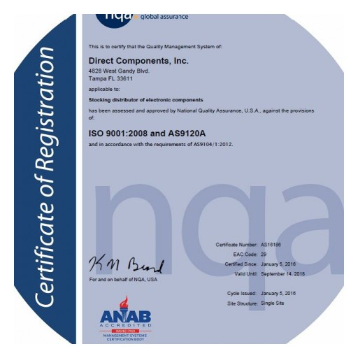 Direct Components, Inc. Achieves AS9120A Certification
