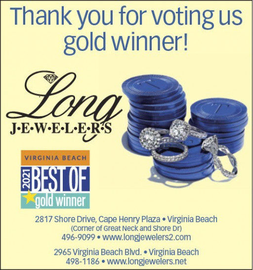 Long Jewelers Awarded the 'Best of Virginia Beach Gold Winner' for 2021