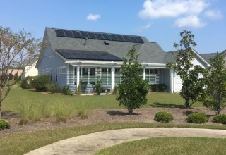 Solar Panels installed by Cape Fear Solar Systems in St. James shine after hurricane Florence.