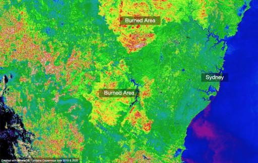 Australia Bush Fires in Sydney Visualized Using WhereOS Satellite Data Application