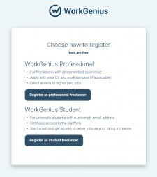 WorkGenius Public Access Registration Page