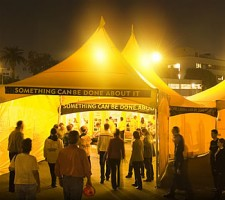 The bright yellow Scientology Volunteer Ministers tent has become a symbol of help in towns and cities across the world.
