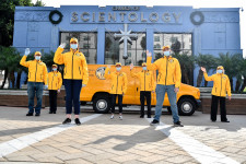 L.A. Volunteer Ministers gather at the Church of Scientology to bring special Thanksgiving gifts to essential workers.