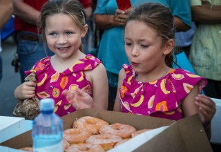 An all-you-can-eat donut-eating contest was a popular event