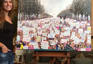 Alana Rae's painting of the Women's March in D.C.