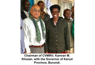 Chairman of CVMR®, Kamran M. Khozan, with the Governor of Karuzi Province, Burundi