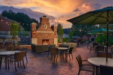 The OU Inn Monumental Fireplace & Cutler's Restaurant Patio