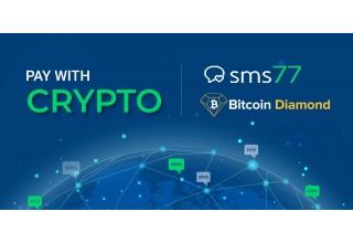 Pay with Crypto, sms77 logo and Bitcoin Diamond logo