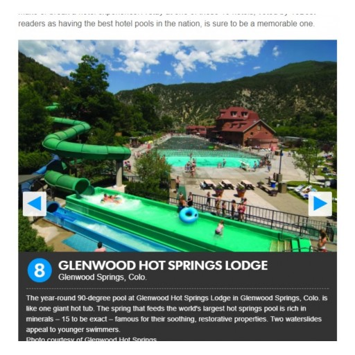 Glenwood Hot Springs Lodge Named a Top Hotel Pool by USA Today and 10Best.com