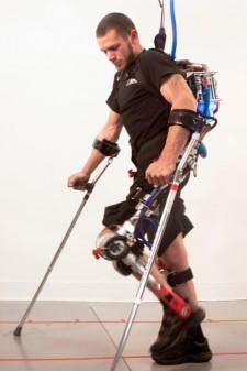 Paraplegic User Walking In Robotic Exoskeleton