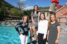 Stacey James, Director of Glenwood Hot Springs Board of Directors with winners Alanna Martinez, Baylie Adison Lengel and Erica Diemoz