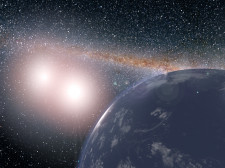 Artist's concept of hypothetical planet covered in water around the binary star system of Kepler-35A