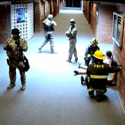 SchoolSAFE interoperable two-way radio communications between school staff and first responders was practiced in this active shooter rescue exercise at Pueblo West High School, Colorado, April 8, 2015.