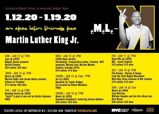 An Afro Latin Thing for Martin Luther King: Teatro LATEA Announces eMeLe-K 2020 Programming