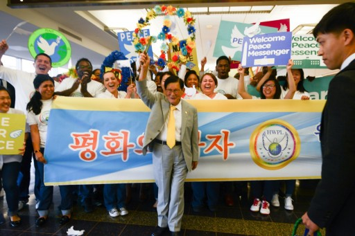 Messenger of Peace From the Korean Peninsula Arrives to Large Crowd in Washington, D.C. Airport