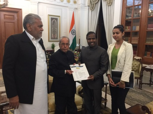 Dr. KA Paul, Global Peace Initiative President and the Indian President Pranab Kumar Mukherjee Calling the World to Celebrate Christmas and Promote Peace Among All People of All Faiths