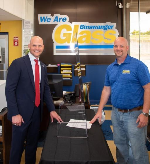 Kansas Secretary of State Inspects Voting Shields at Binswanger Glass