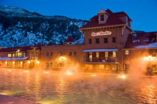 Glenwood Hot Springs - winter twilight