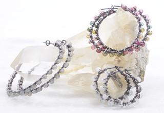 Oxidized Sterling Silver Gemstone Wire Wrapped Hoop Earrings