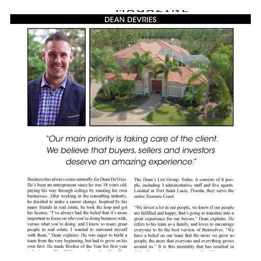 Dean DeVries Was Featured in the Florida Edition of National Publication of Top Agent Magazine