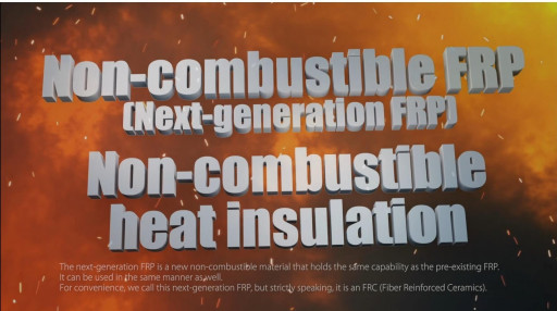 Japanese Company, Each DreaM, Inc., Invents World's First True Non-Combustible Fiber Reinforced Plastic That Cleared ISO-1182. Pat. Pending