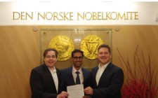 5th Element Group PBC Co-founders Ed Martin and Jim Van Eerden present executed Term Sheet to Pratik Gauri who will serve as President of 5th Element Group India.