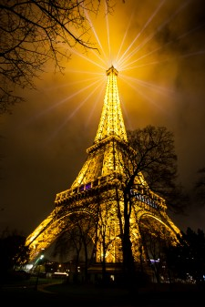 Eiffel Tower, Paris, France, during United Nations Climate Change Conference (COP21)