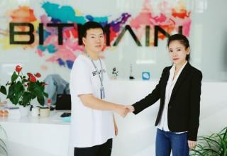 Bitmain's Head of APAC Sales Xiaojun Fan with BitDeer's Founder & CEO Celine Lu