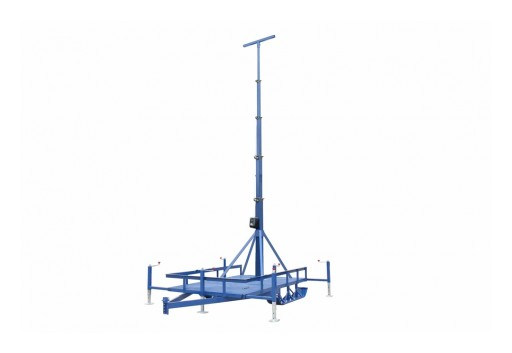 Larson Electronics Releases 50' 6-Stage Light Mast on Single Ski Axle Trailer, 13' to 50', 360˚ Rotation