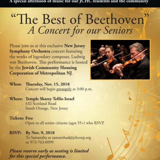 Nov. 15: Jewish Community Housing Corporation to Host Free 'Best of Beethoven' Symphony Concert for Area Seniors and JCHC Residents