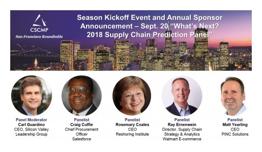 CSCMP Silicon Valley / San Francisco Opens 2018-19 Program Season Thursday Night Sept 20th -San Mateo