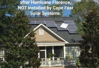Solar Panels not installed by Cape Fear Solar Systems fly off during hurricane Florence.