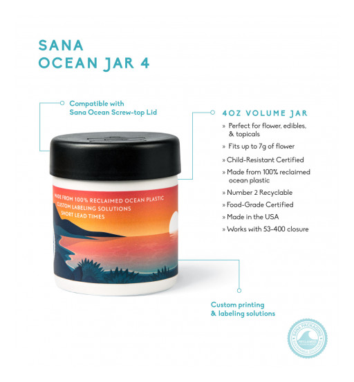 Sana Packaging Releases the Cannabis Industry's First 100% Reclaimed Ocean Plastic Jars