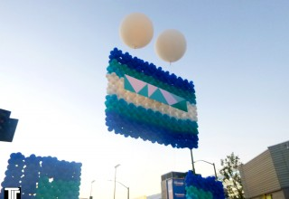 Flying Balloon Wall Surprise Reveal Opens Entrance at Event at LA Live in Los Angeles