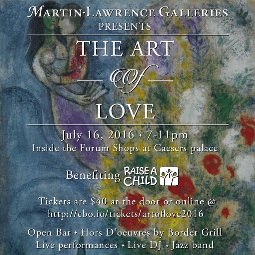 Martin Lawrence Galleries Announces Annual Charity Event - the Art of Love on July 16th - Produced by Endless Road Entertainment