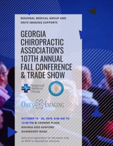 Regional Medical Group and Onyx Imaging Supports Georgia Chiropractic Association's 107th Annual Fall Conference & Trade Show